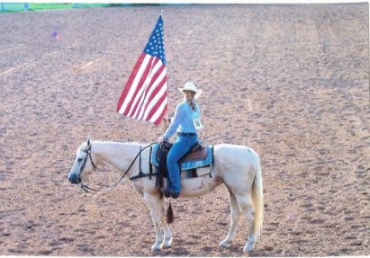 Fresca, my palomino 'heinz 57' mare I had growing up. We were good at carrying the flag in the opening ceremony.