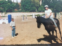 Dressage clinic with Wolfgang May. I did my first flying change with him. I am apparently focusing very hard.